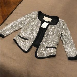 Cooperative XS silver sequin jacket quarter sleeve